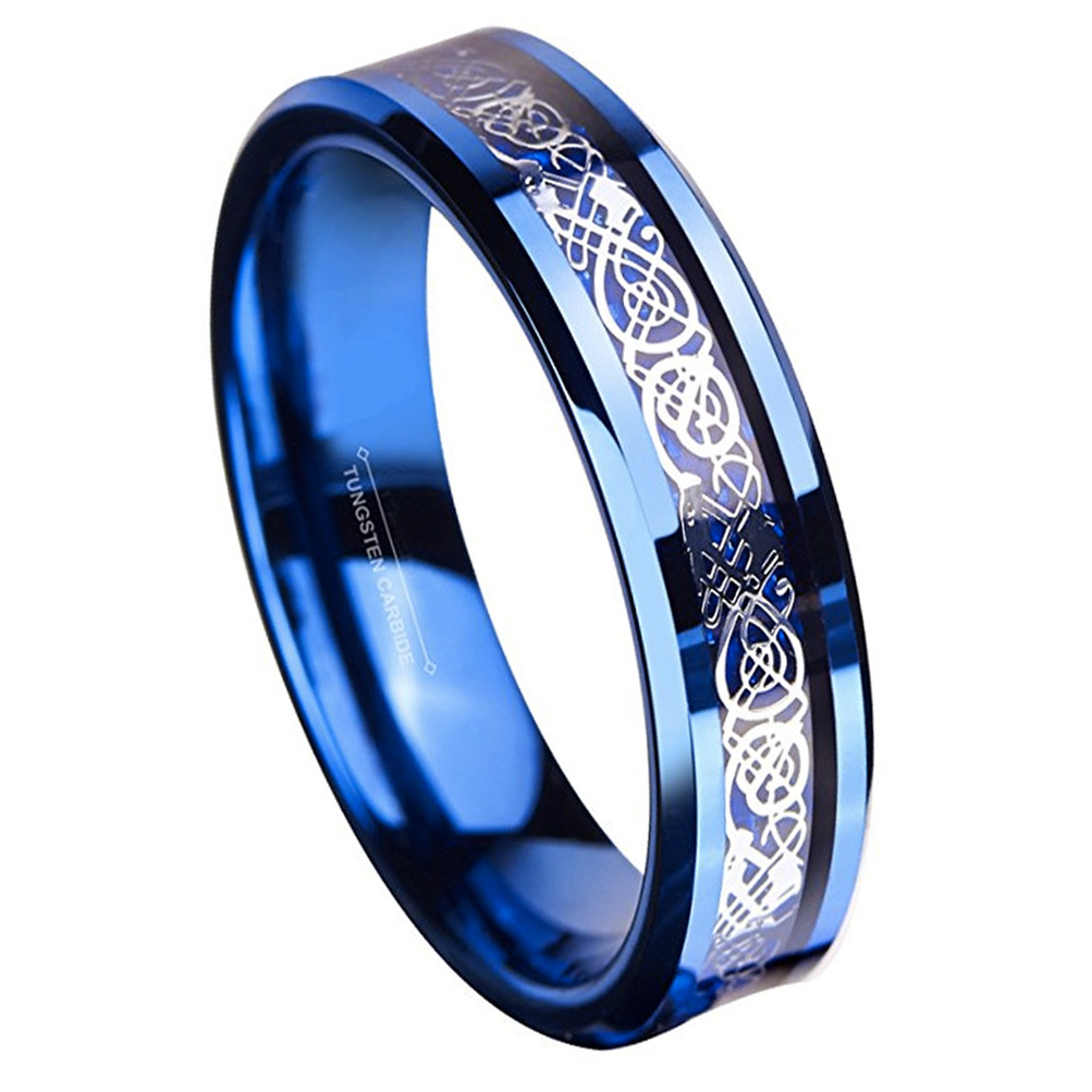 6mm unisex or womens tungsten wedding band blue and