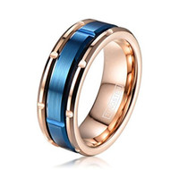 8mm - Unisex or Men's Tungsten Wedding Bands - Rose Gold with Outer Blue Brick Design. Tungsten Carbide. High Polish Sides and Matte Finish. Comfort Fit.