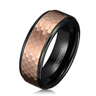 8mm - Unisex or Men's Tungsten Wedding Bands. Duo Tone Black and Rose Gold Hammered Finish Men's Tungsten Carbide Ring