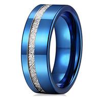 8mm - Unisex or Men's Tungsten Wedding Band. Blue Tone Inspired Meteorite Wedding Band. Flat Edged Tungsten Carbide Ring Comfort Fit