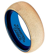 8mm - Unisex or Men's Tungsten Wedding Band. Rose Gold Sand Blasted Glitter with Inner Blue Tone. Domed and Comfort Fit