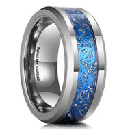 8mm - Unisex or Men's Tungsten Wedding Band. Silver and Sky Blue Mens Celtic Wedding Band. Celtic Knot Tungsten Carbide