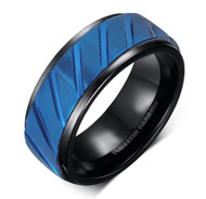 8mm - Unisex or Men's Tungsten Wedding Bands. Diagonal Tread Top Men's Tungsten Carbide Ring. Duo Tone Black and Blue