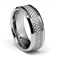 8mm - Unisex or Men's Tungsten Wedding Band. Silver with White Carbon Fiber Inlay. Men's Wedding Rings
