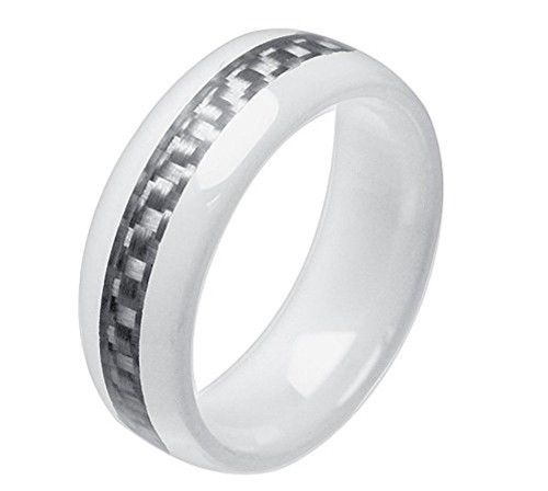 8mm Unisex or Mens Ceramic Wedding Band White Ring with Gray