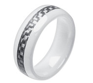 8mm - Unisex or Men's Ceramic Wedding Band. White Ring with Gray / Silver Carbon Fiber Inlay.