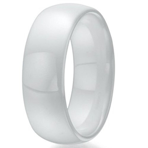 8mm Unisex or Mens Ceramic Wedding Bands White Polished Mens