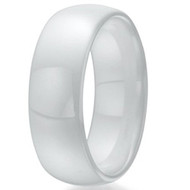 8mm - Unisex or Men's Ceramic Wedding Bands White. Polished Men's Wedding Ring Domed Top