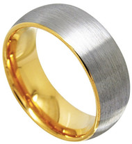 8mm - Unisex or Men's Tungsten Wedding Band. Silver / Gray and Yellow Gold Round Domed Top. Comfort Fit Brushed Wedding Rings