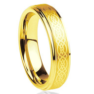 6mm - Unisex or Women's Tungsten Wedding Band. Gold Celtic Wedding Band with Laser Etched Celtic Knot and Beveled Edges.