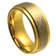 8mm - Unisex or Men's Tungsten Ring Wedding Band. Gold Celtic Wedding Band. Laser Etched Celtic Knot. Beveled Edges