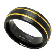 8mm - Unisex or Men's Tungsten Wedding Bands. Duo Tone Black and Gold Double Groove Finish. Men's Tungsten Carbide Ring Wedding Band
