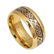 8mm - Unisex or Men's Titanium Wedding Band. Celtic Wedding Band Gold with Wood Resin Inlay Celtic Knot Titanium Ring.
