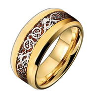 8mm - Unisex or Men's Titanium Wedding Band. Celtic Wedding Band Gold with Wood Resin Inlay Celtic Knot Titanium Ring.
