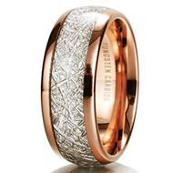 8mm - Unisex or Men's Tungsten Wedding Band. Rose Gold Inspired Meteorite Tungsten Carbide Ring. Comfort Fit