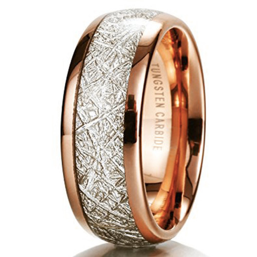 Image of 8mm - Unisex or Men's Wedding Band. Rose Gold Plated Domed Tungsten Carbide Ring Inspired Meteorite Wedding Band Comfort Fit