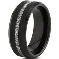 8mm - Unisex or Men's Tungsten Wedding Band. Inspired Meteorite Black Tungsten Carbide Ring. Thin Stripe Meteorite Wedding Band