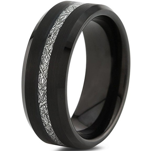 8mm – Unisex or Men's Wedding Band. Mens Wedding Rings Black Tungsten Carbide Ring Thin Stripe Inspired Meteorite Wedding Band Comfort Fit