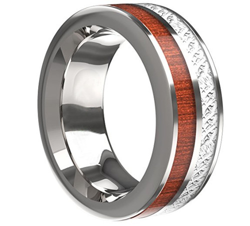 8mm – Unisex or Men's Wedding Wood with Inspired Meteorite. Flat Edged Tungsten Carbide Ring Wedding Band Comfort Fit