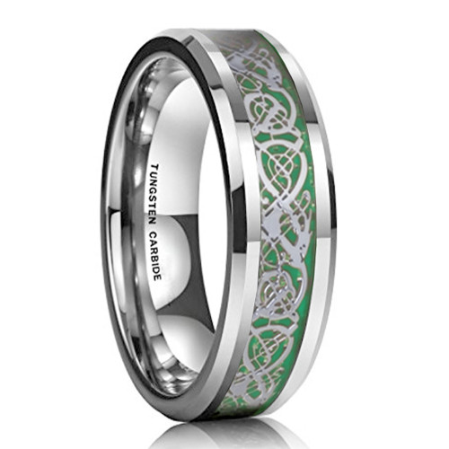 6mm – Unisex or Women's Wedding Band. Women's Silver Resin Inlay Green Celtic Knot Tungsten Carbide Ring Wedding Band