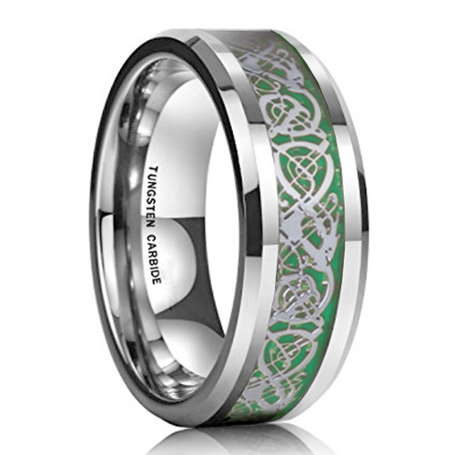 8mm – Unisex or Men's Wedding Band. Men's Silver Resin Inlay Green Celtic Knot Tungsten Carbide Ring Wedding Band