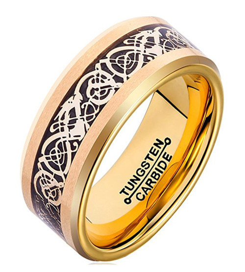 8mm – Unisex or Men's Wedding Band. Gold Resin Inlay Black and Gold Celtic Knot Tungsten Carbide Ring Wedding Band