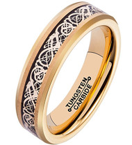 6mm - Unisex or Women's Tungsten Wedding Band. Celtic Gold Wedding Band with Black and Gold Resin Inlay. Celtic Knot Tungsten Carbide Ring