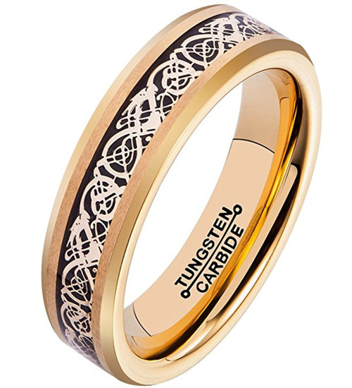 6mm – Unisex or Women's Wedding Band. Gold Resin Inlay Black and Gold Celtic Knot Tungsten Carbide Ring Wedding Band