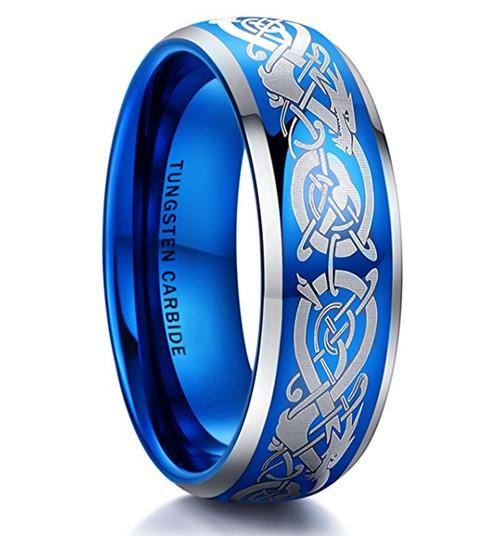 8mm – Unisex or Men's Wedding Band Blue. Dragon Celtic Knot Design. Blue Domed Polished Tungsten Carbide Ring Wedding Band. Comfort Fit