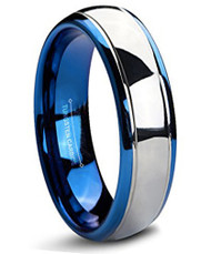6mm - Unisex or Women's Tungsten Wedding Band. Blue and Silver Dome Gunmetal Tungsten Carbide Ring