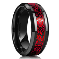 8mm - Unisex or Men's Tungsten Wedding Band. Celtic Wedding Bands Red Resin Inlay Black Celtic Knot Tungsten Carbide Ring