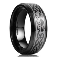8mm - Unisex or Men's or Women's Irish Claddagh Tungsten Wedding Band. Celtic Wedding Bands. Black Laser Etched Heart in Hands Celtic Knot