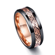 8mm - Unisex, Women's or Men's Tungsten Wedding Band. Celtic Wedding Band Black with Inner and Top Rose Gold Resin Inlay Celtic Knot