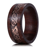 8mm - Unisex or Men's Sandalwood Wedding Band. Celtic Wedding Band with Rose Gold Resin Inlay Celtic Knot