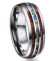8mm - Unisex or Men's Tungsten Wedding Bands. Silver Tone Multi Color Wood and Rainbow Abalone Shell Inlay Ring (Organic colors)
