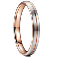 3mm - Unisex or Women's Tungsten Wedding Band Ring. Comfort Fit Gray and Rose Gold Groove Round Domed Brushed. Wedding Bands