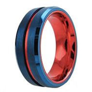 8mm - Unisex or Men's Tungsten Wedding Band. Blue with Red Groove. Matte Finish Tungsten Carbide Ring. Beveled Edge