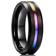 8mm - Unisex, Men's or Women's Tungsten Wedding Band. Beveled Rainbow Anodized Black Tungsten Carbide Wedding Engagement Rings