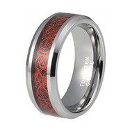 8mm - Unisex or Men's Tungsten Wedding Band. Celtic Wedding Bands Silver Band with Black Resin Inlay and All Red Celtic Knot Tungsten Carbide Ring