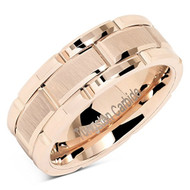 8mm - Unisex or Men's Tungsten Wedding Band. Rose Gold Tone Brick Pattern Tungsten Wedding Band Ring Comfort Fit