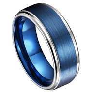 8mm - Unisex or Men's Tungsten Wedding Bands. Blue Tungsten Ring with Silver Edges. Inside High Polish. Comfort Fit