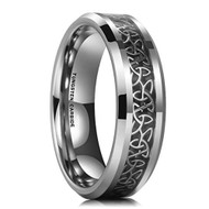 6mm - Unisex or Women's Tungsten Wedding Band. Irish Trinity Triquetra Ring. Black and Silver Tone Celtic Knot Carbon Fiber Inlay