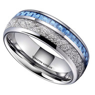 8mm - Unisex, Women's or Men's Wedding Tungsten Wedding Band. Silver Tungsten Band with Blue Carbon Fiber Inlay and Inspired Meteorite. Domed Tungsten Carbide Ring. Comfort Fit