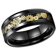 8mm - Unisex or Men's Tungsten Wedding Band. Wedding Band Black with Mechanical Gear Gold Over Black Carbon Fiber. Tungsten Carbide Ring