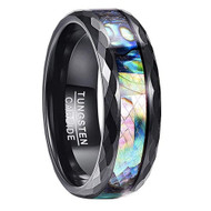 8mm - Unisex or Men's Tungsten Wedding Bands. Black Faceted Rim Multi Color Rainbow Abalone Shell Inlay Ring (Organic colors)