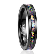 4mm - Unisex or Women's Tungsten Wedding Bands. Black Multi Color Rainbow Opal Inlay Ring (Organic colors)