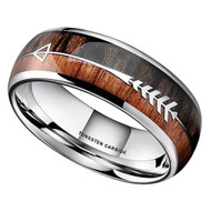 8mm - Unisex or Men's Tungsten Wedding Bands. Silver Tone Cupid's Arrow over Wood Inlay. Tungsten Ring with High Polish Dark Wood Inlay. Domed Top Ring.