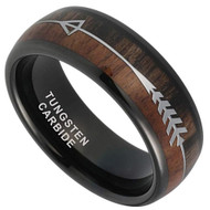 8mm - Unisex or Men's Tungsten Wedding Bands. Black Tone Cupid's Arrow over Wood Inlay. Tungsten Ring with High Polish Dark Wood Inlay. Domed Top Ring.