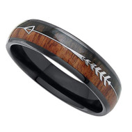 6mm - Unisex or Women's Tungsten Wedding Bands. Black Tone Cupid's Arrow over Wood Inlay. Tungsten Ring with High Polish Dark Wood Inlay. Domed Top Ring.
