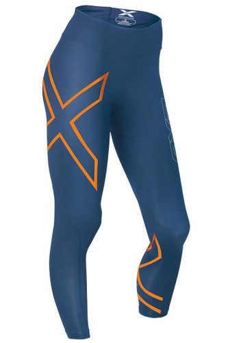 2XU - Mid Rise Compression Tights - Women's - Dark Blue/ Torch Orange